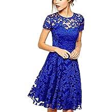 Vestidos azules cortos de encaje