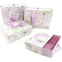 Decorativo floral cartón duro caja de almacenamiento de Navidad Regalo de cumpleaños + asa [Morado], Morado, small