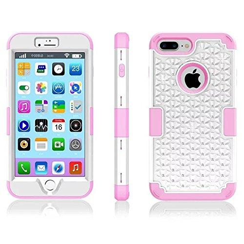 """iPhone 7 Plus hüll,Lantier elegante 3 in 1 Beschlagene Strass Kristallbling Dual Layer Hybrid [Anti Scratch] Stoß Rugged Schutzhülle für Apple iPhone 7 Plus 5,5"""" Rose Gold+Grau White+Pink"""
