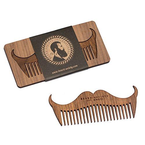 sagl.tirol holzmanufaktur Bartkamm für Unterwegs, Modell Beard Society Mustache aus Echtholz, Nussholz, sehr stabil, elegant, edel, Herrenbart, Schnurrbart, Taschenkamm