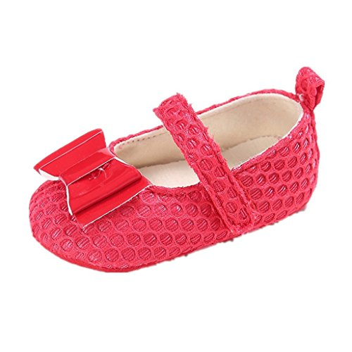 Baby Schuhe Auxma Baby Kleinkindschuhe ,Baby nette Bowknot Baumwolle weiche Sole Schuhe Für 0-18 Monate (12 6-12 M, Schwarz) Rot
