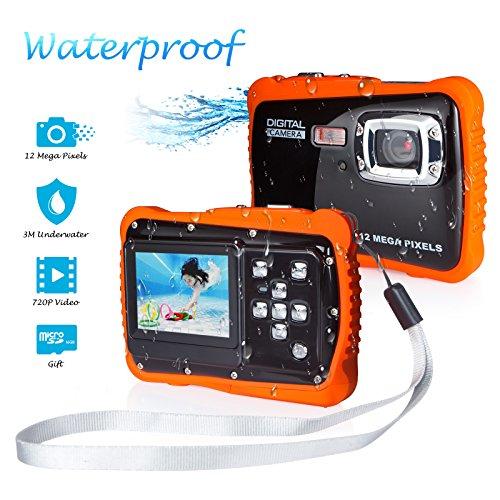 FLAGPOWER Kinder Kamera Wasserdicht mit 16GB MicroSD-Speicherkarte, Unterwasser Kamera Camcorder für Kinder ab 3 Jahre, Digitalkamera mit 4-Fach Digitalzoom/ 12MP HD Fotos/ 720P HD Videofunktion/ 2