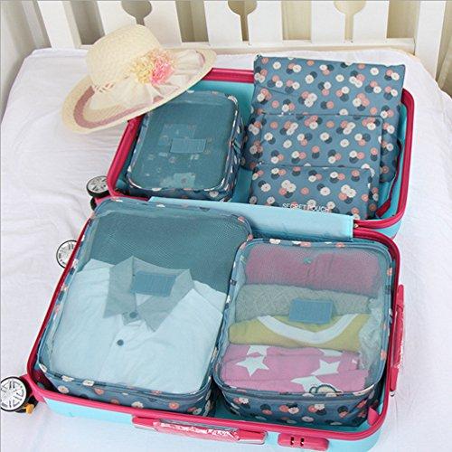 Sentao 6 Stück Wasserdichte Kleidung Verpackungs Reisegepäck Organizer Taschen Drucken Kofferorganizer