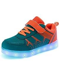 (Present:kleines Handtuch)Gelb EU 26, Sneakers mode Fluorescence Kinder Mädchen Sportsschuhe Light Klett
