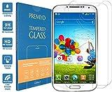 PREMYO 2 Stück Panzerglas für Galaxy S4 Schutzglas Display-Schutzfolie für Galaxy S4 Blasenfrei HD-Klar 9H 2,5D Echt-Glas Folie kompatibel für S4 Gegen Kratzer Fingerabdrücke