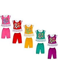 Sathiyas Baby Girls Cotton Top & Bottom Set (Multicolor, Set of 5, TBaby16)