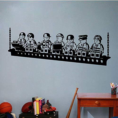 ZHUWall Roboter Lego Spiel Poster Vinyl Wandaufkleber Für Kinderzimmer Dekoration Jungen Zimmer Wandkunst Aufkleber Wandbild Kindergarten Schlafzimmer Dekor 42X110 cm
