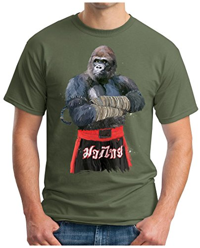 OM3 - MUAY-THAI-GORILLA - T-Shirt THAILAND MONKEY FIGHT APE BOXING CLUB MOTIVATION SWAG EMO Oliv