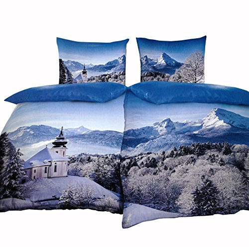 Leonado Vicenti Warme Thermofleece Partnerbettwäsche 4 teilig 135x200 cm Schneelandschaft Berge Fotodruck Winter mit Reißverschluss