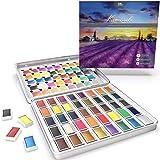 MozArt Supplies Set Acquerelli Giapponesi Komorebi per Dipingere - Acquarelli in 40 Colori - per Professionisti, Artisti O Studenti - Kit Acquarelli Professionali con Colori A Neon E Metallizzati