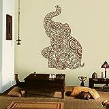 mairgwall Indien Art Wand Elefant Yoga Wandaufkleber Wohnzimmer Decor Schlafzimmer Dekoration Wohnheim, Vinyl, braun, 46