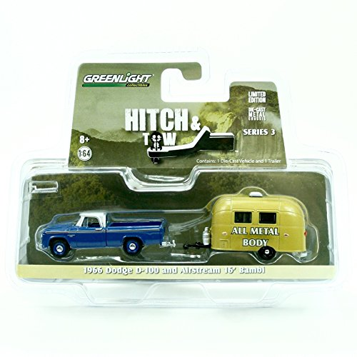 1966 DODGE D-100 & AIRSTREAM 16' BAMBI * Hitch & Tow Series 3 * Greenlight Collectibles 2015 Truck & Trailer Limited Edition 1:64 Scale Die-Cast Vehicle - Diecast Tow Truck