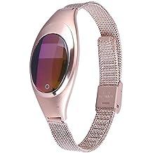 AIWatch Mujer metal presión arterial medir la frecuencia cardíaca pruebas bluetooth reloj inteligente sincronización de bandas para LG / IPHONE / Samsung / HTC / HUAWEI Android y teléfono móvil IOS(oro)