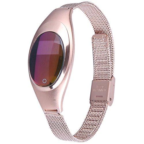 AIWatch Z18 Schmuckband, Damenuhr, Smartwatch oder intelligente Armbanduhr, Herzfrequenz und Blutdruck Messung, Pedometer, Push-Nachrichten, Bluetooth kompatibel mit Android und IOS Handy (Gold)