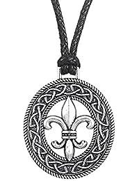 Wicca Retro estilo Irlandés nudo Medieval Fleur de Lis Lily patrón de flor colgante collar