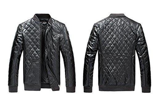 BOMOVO Herren Lederjacke Herbst Langarm Reißverschluss Jacket Warm Bikerjacke Mantel Schwarz