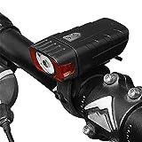 LEvifun Fahrradlicht Wiederaufladbare USB Geladen 4 Licht-Modi Radfahren Frontlichter Rücklicht Motorrad Licht Fahrradbeleuchtung Fahrradlenker Fahrradlampe Superhelle Wasserdicht F62 (Schwarz)