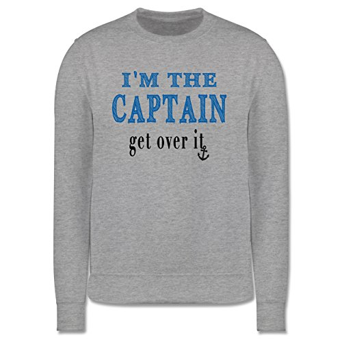 Schiffe - I'M THE CAPTAIN - get over it - Herren Premium Pullover Grau Meliert