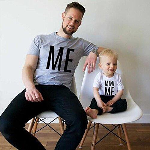 Ularma Herren Baby Crewneck T-Shirt Vater & Sohn Kurzarm Tops ME MINI ME MINI ME