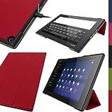 """igadgitz Premium Rouge en Cuir PU Smart Cover Étui Housse Case pour Sony Xperia Z2 Tablet SGP511 10.1"""" avec Support Multi-Angles + Mise en Veille/Réveil + Film de Protection"""