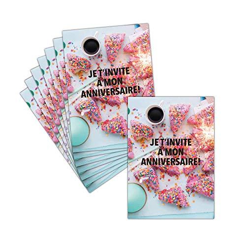Einladungskarte für Geburtstag, Gourmande und Sucrée, 8 Karten – Einladungskarte zum Geburtstag und Gutschein – Dispo in 3 Größen Carte postale - 11 cm x 16 cm