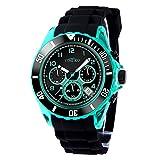 Time100 Reloj Hombre Pulsera para Hombre de la Correa de Silicona Color Negro Reloj Ocio de Moda con multifunciones Reloj Deporte (Negro)