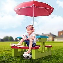 Infantastic Tavolo da bambini tavolino esterno per bambini con ombrellone