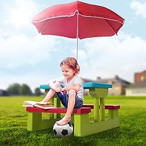 Infantastic - Ensemble de jardin pour enfant - table, 2 bancs et parasol