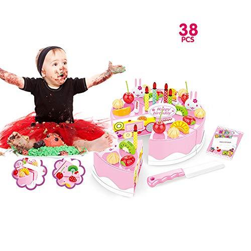 Togel 38 Stück Pretend Rollenspiel Küche Spielzeug Happy Birthday Kuchen Essen Schneiden Set Kinder Halloween Kürbis Holzspielzeug Halloween Kindergeschenk Geschenk für Kinder Lernspielzeug