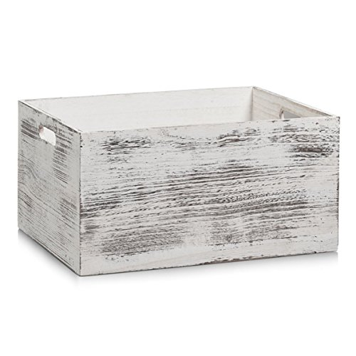 Zeller Aufbewahrungs-Kiste Rustic weiß, Holz, 40x30x20 cm (Holz-vintage-kiste)
