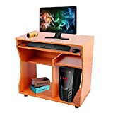 Dripex Modern Computer Desk Study Workstation with Keyboard Tray for Home and Office with Sliding Keyboard and 2 Shelves, beech