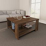 Tecnomobili Coffee Table, Walnut, 45.5 x 90 x 90 cm