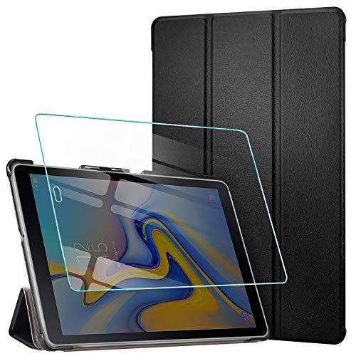 Aroyi custodia cover per samsung galaxy tab a 10.5 2018 + vetro temperato, ultra sottile leggero supporto protettiva tablet in silicone pu case con auto sonno/sveglia la funzione - nero