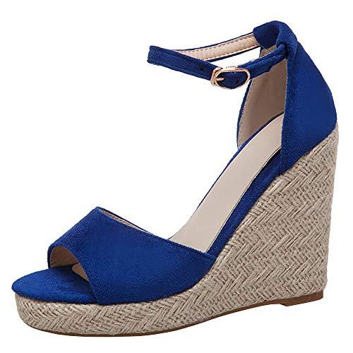 Zanpa Damen Mode Sommerschuhe Knöchelriemchen Sandals Keilabsatz Klassisch Weave Heels Party Shoes Custome Heels Blue Gr 34