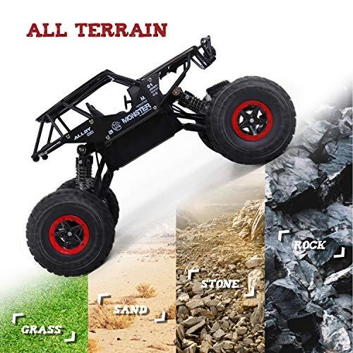 SGILE 1:14 Coche Teledirigido,  2.4 GHz 4WD RC Camión Monstruo de Todo Terreno,  con 2 Baterías Recargables,  Niños,  Negro