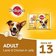 Pedigree Vital Protection Adult Wet Dog Food, Chicken & Lamb in Jelly, 13 Packs (13 x 4