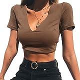 ALAIX Femmes Sexy Tops Clubwear Partie Chemise Décontractée Stretchy Blouse Crop Top Café-S