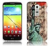 Cadorabo DE-102074 LG G2 Handyhülle im Design Hardcase mit Aufdruck Schutzhülle Bumper Back Case Cover New York - Freiheitsstatue