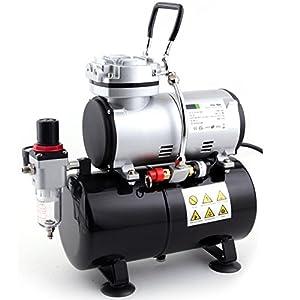 Compresor de aerógrafo Fengda FD-186 con calderín / ORIGINAL FENGDA / regulador de presión / 3L / 4 bar / parada automática