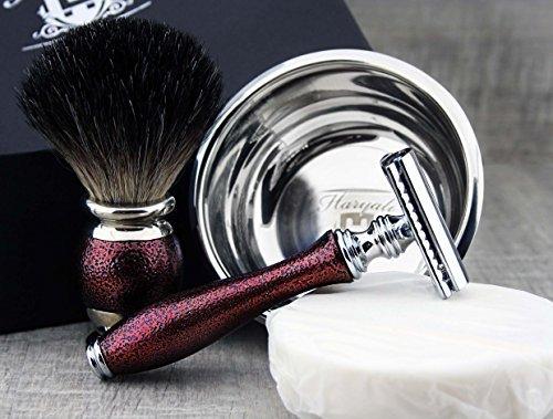 Rasurset, Kastanienbraun mit Dachshaar Pinsel & De Rasierhobel mit Schale und Seife Abbildung 3