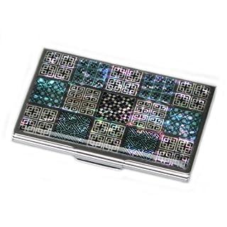 Kreditkartenhalter/Visitenkartenetui mit Perlmutt, Metall/Edelstahl, schlankes Design mit Gravur und traditionellem koreanischen Gitter-Design