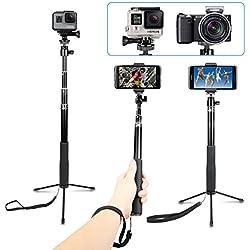 AFAITH Etanche Perche Selfie pour Appareil Photo GoPro Hero7 Black Hero 2018 Hero 6 Hero 5 4 3 Session, AFAITH Extensible bâton de Selfie trépied Monopode pour DJI OSMO Action Cam Xiaomi Yi SJCAM