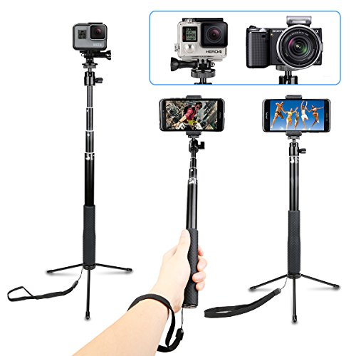 AFAITH Impermeabile Selfie Bastone Lega di Alluminio Adjustable treppiede per GoPro Hero7 Black, Hero(2018) 6 5 4 3, Supporto iPhone XS/XMAX/XR/8/7 Plus, Samsung Galaxy S9 S8 Edge Smartphone - GP077