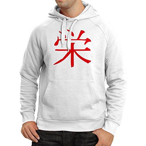 lepni.me Felpa con Cappuccio Logogramma della Prosperità - Simbolo Kanji Cinese/Giapponese Bianco Rosso