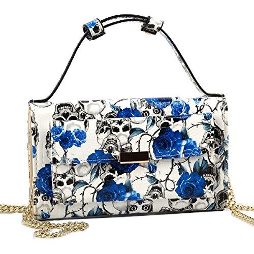 Show Story de la mujer monedero cartera de embrague bolso de mano bolso bandolera bolsa funda para tarjeta moneda Caso azul - calavera