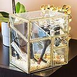 Dawoo Trousse à maquillage Phnom Penh, boîte de rangement pour bijoux (surface en verre)