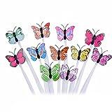 Vococal - 12 pcs Diseño de Mariposa Luces de LED Fibra óptica de Cabello Alternando Flash Clip Pelo Trenza,Mariposa Color Al azar