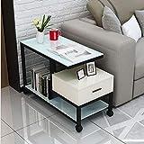 Pulley Tavolino da Salotto Consolle Divano Laterale Tavolino da caffè Design Moderno da Salotto Comodino Side Table End Table (Color : with Drawers, Size : 65x35x60cm)