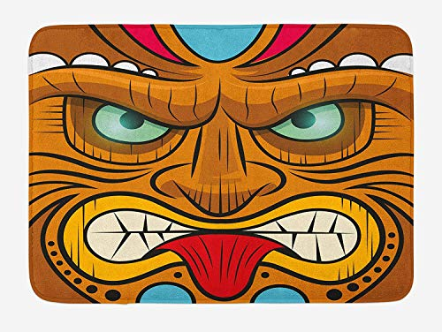 Icndpshorts Tiki Bar Bath Mat, Cartoon Style Angry Looking Tiki Warrior Mask Colorful Icon Totem Culture Print, Plush Bathroom Decor Mat with Non Slip Backing, 23.6 x 15.7 Inches, Multicolor