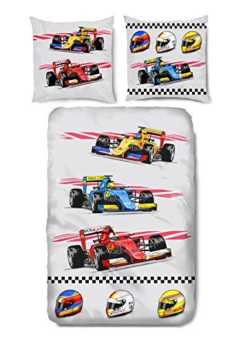 Aminata Kids - Kinder-Bettwäsche-Set 135-x-200 cm Formel-1 Formel-eins-Motiv Renn-Wagen Renn-Auto-s Sport-Wagen Fahrzeug-e Race car-s 100-% Baumwolle Renforce Weiss rot blau-e